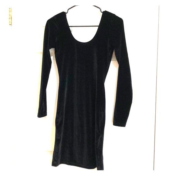 bffdcccaade American Apparel Dresses   Skirts - Black Velvet Long Sleeve BodyCon Dress